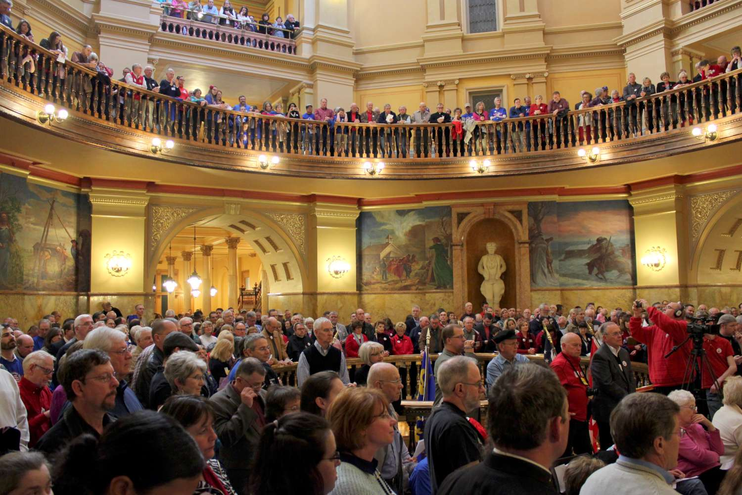 More than 1,000 people packed the Kansas Statehouse rotunda Wednesday for a religious freedom rally.  (Photo by Stephen Koranda)