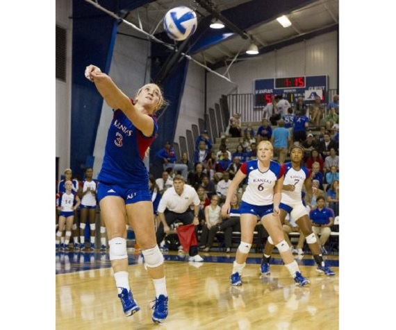 The KU volleyball team in action.  (Photo credit: KU Athletics)