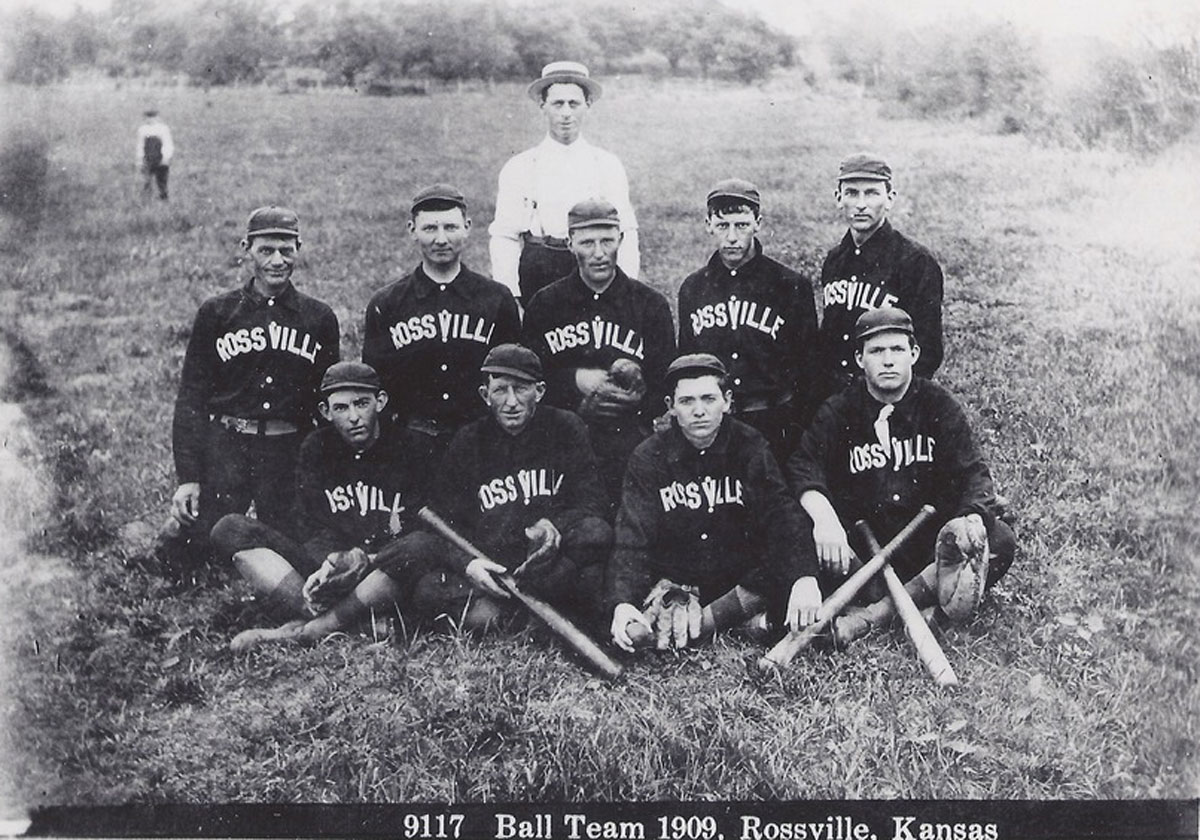 "The 1909 Rossville baseball team managed by I.B. Wilt. Back row players, left to right, are ""Frog"" Baird, Frank or Melvin Hartzell, Cy Higginbotham, Jack Parr, and Guy Berkey. Front row players, left to right, are Charles Berkey, Pete Cless, Fred Hook, and Clarence McPherson.(Photo Courtesy of kansasmemory.org/Kansas Historical Society)"