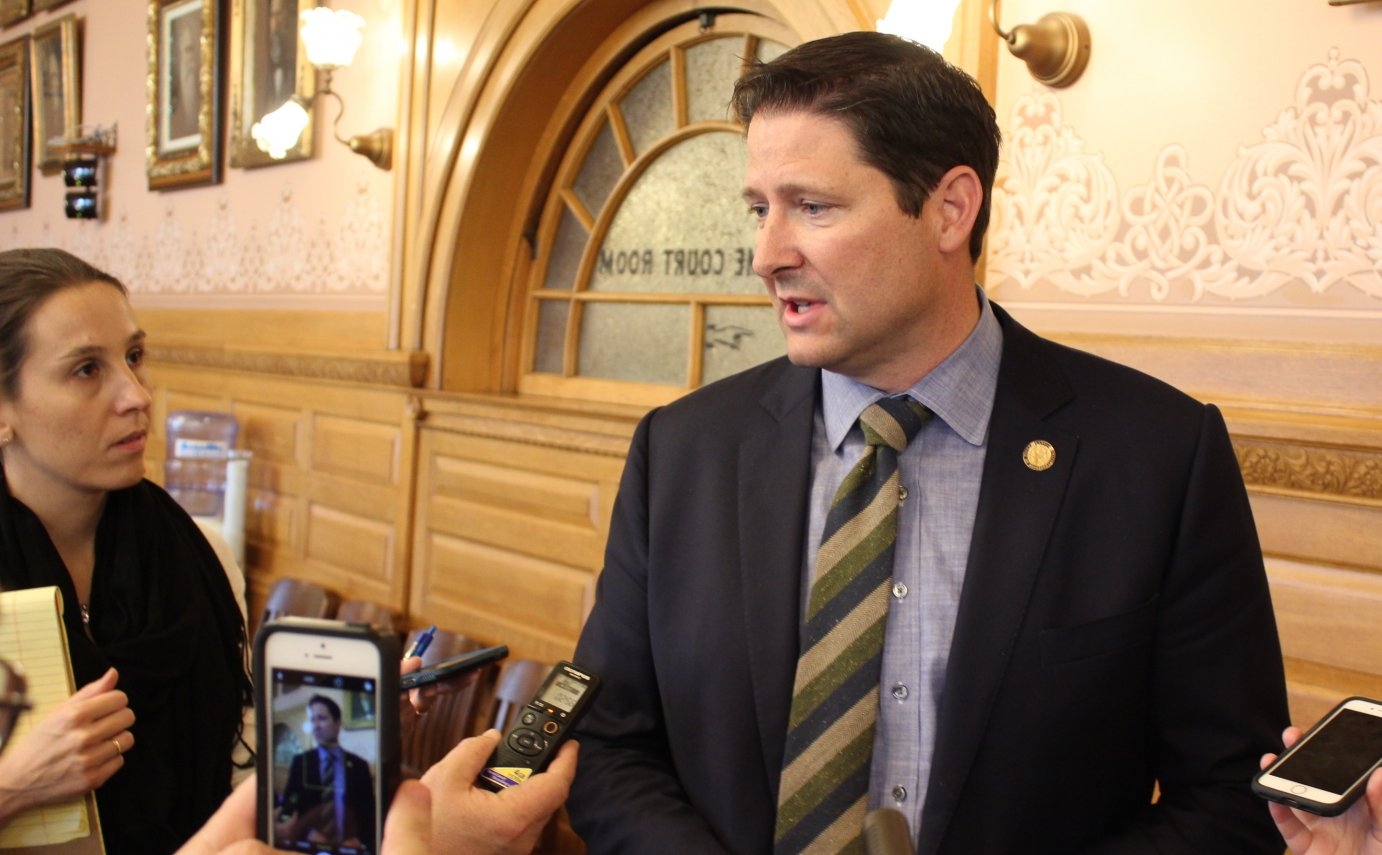House speaker Ron Rykcman talking to reporters earlier this month. (Photo by Stephen Koranda)