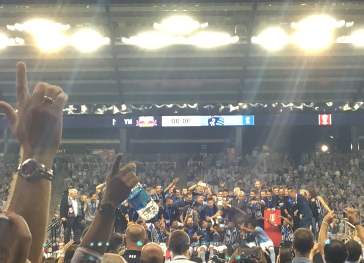 Sporting KC fans and players celebrate after the team won the U.S. Open Cup.  (Photo by Greg Echlin)