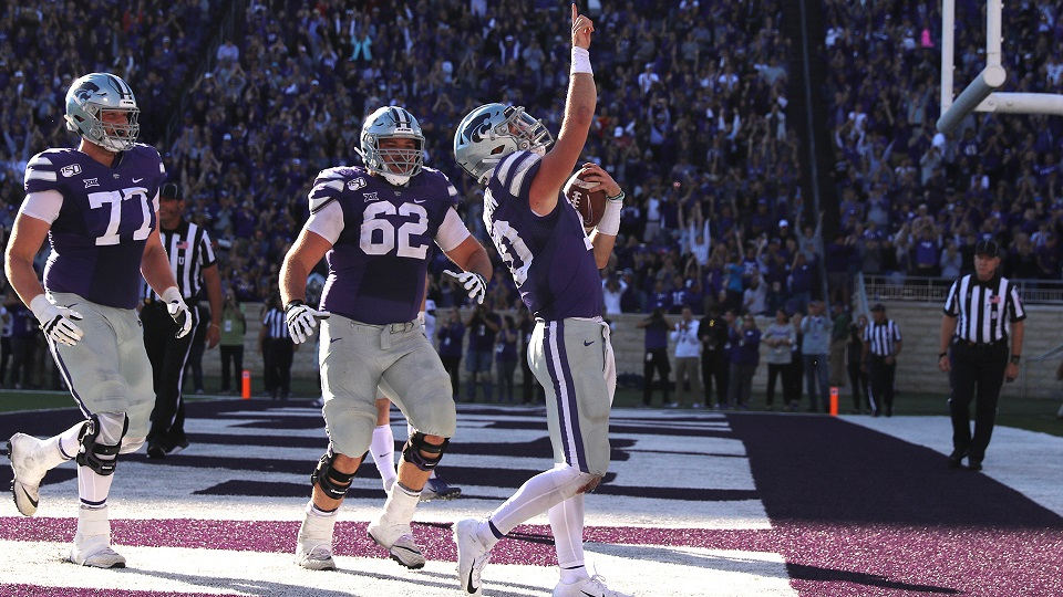 Wildcats' quarterback Skylar Thompson celebrates a touchdown.  (Photo from K-State Athletics)