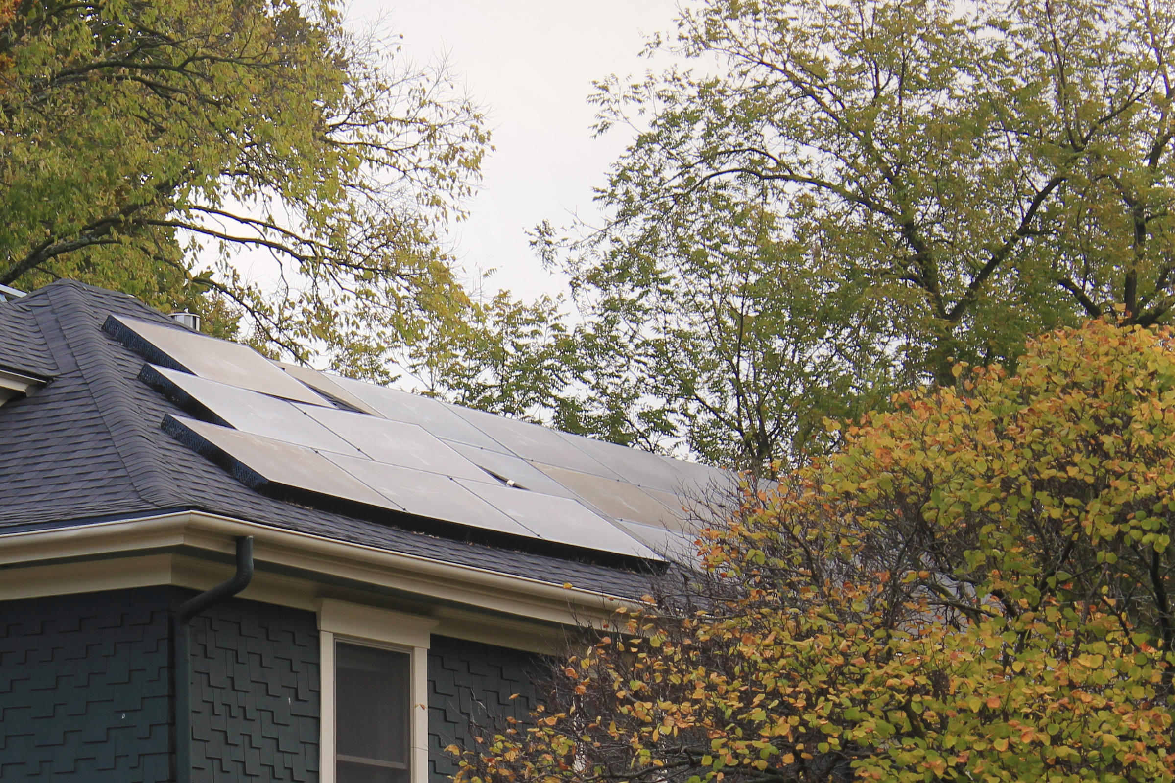 Solar panels on the roof of a home in Lawrence, Kansas.(Photo by Stephen Koranda)