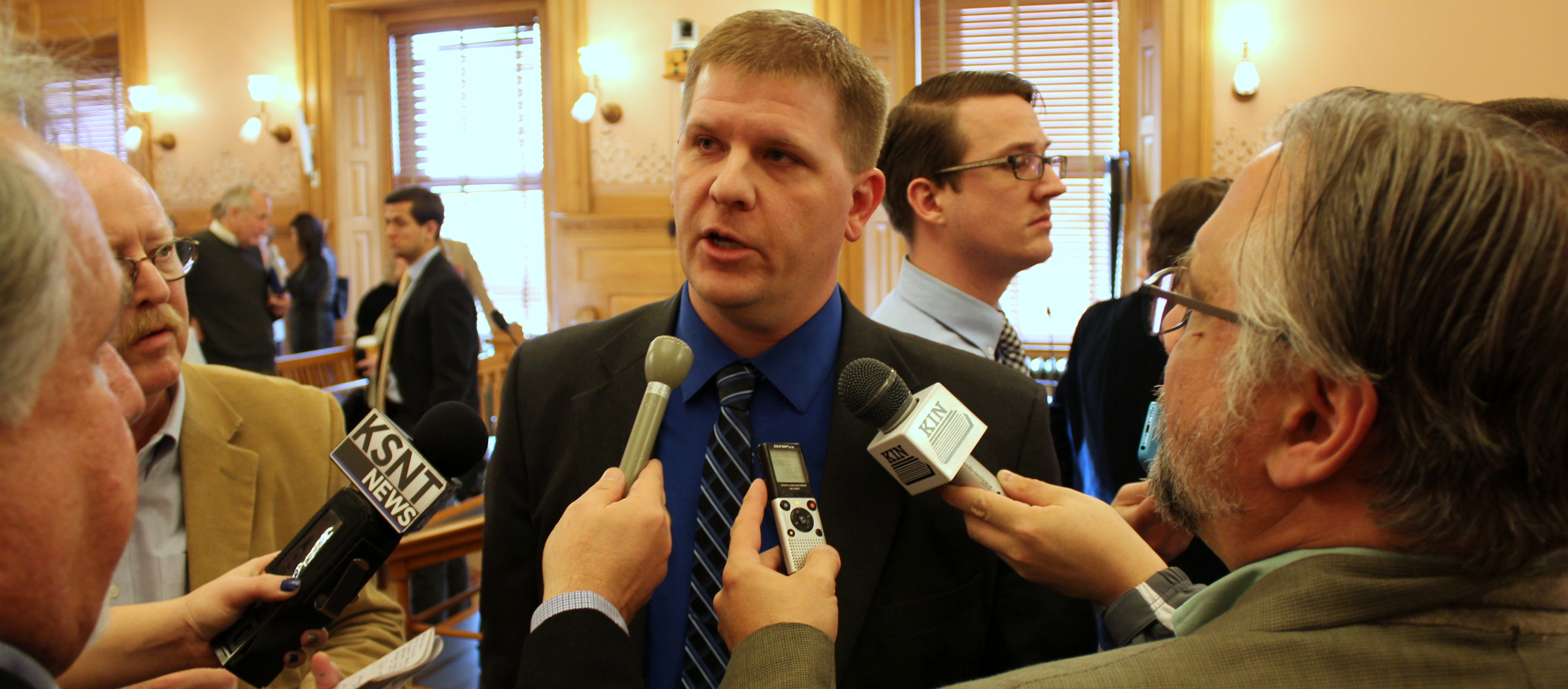 Budget Director Shawn Sullivan speaking to reporters at the Statehouse. (Photo by Stephen Koranda)