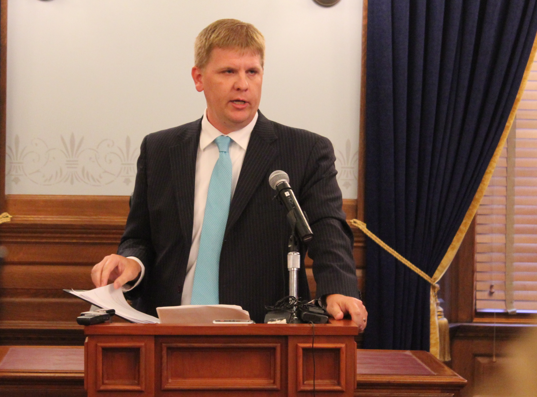 Budget Director Shawn Sullivan outlines the budget changes. (Photo by Stephen Koranda)