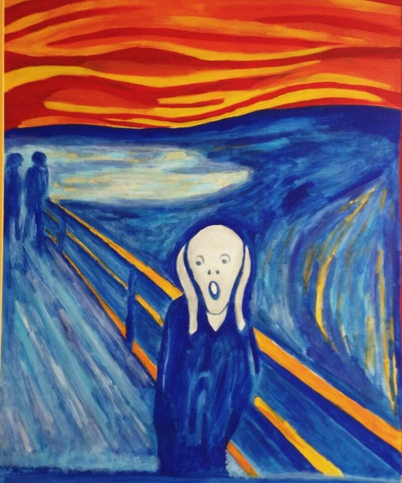 "A reproduction of ""The Scream,"" a painting by Norwegian artist Edvard Munch, used here to represent ""art"" in general.  (Photo by J. Schafer)"