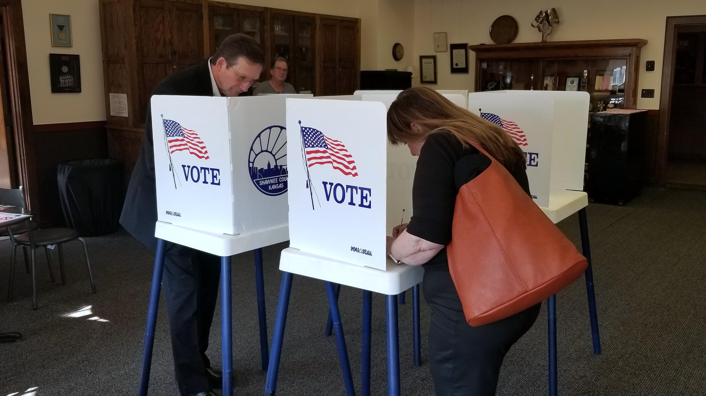 Voters at a Topeka polling place in 2019. (Photo by Stephen Koranda)