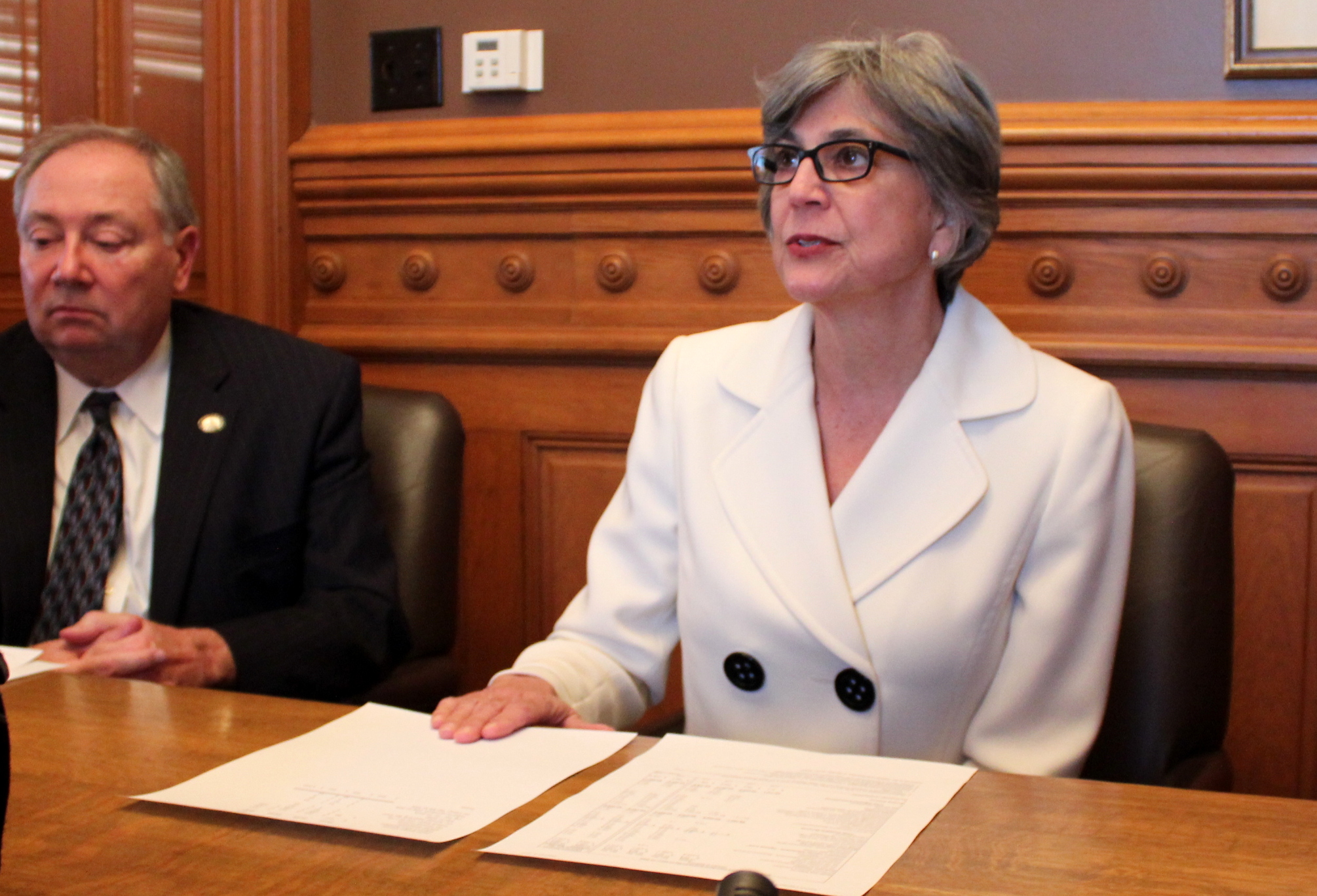 Senate President Susan Wagle speaking about the tax and budget plans Tuesday. (Photo by Stephen Koranda)