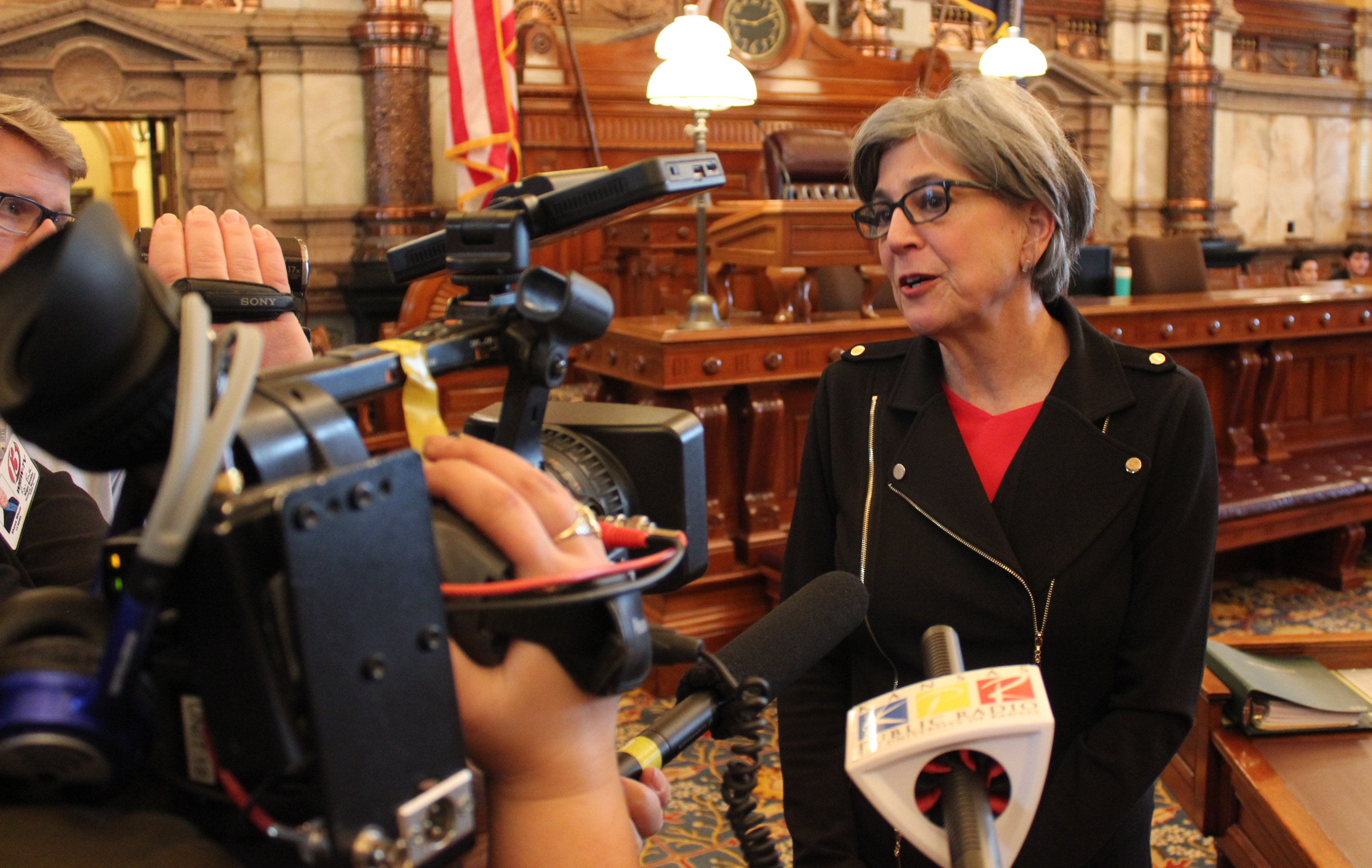 Senate President Susan Wagle speaking to reporters after the debate was delayed. (Photo by Stephen Koranda)