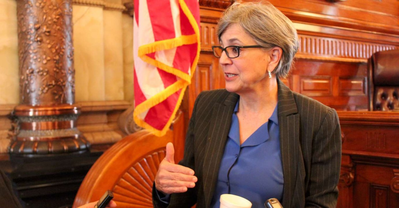 Senate President Susan Wagle speaking last year. (Photo by Stephen Koranda)