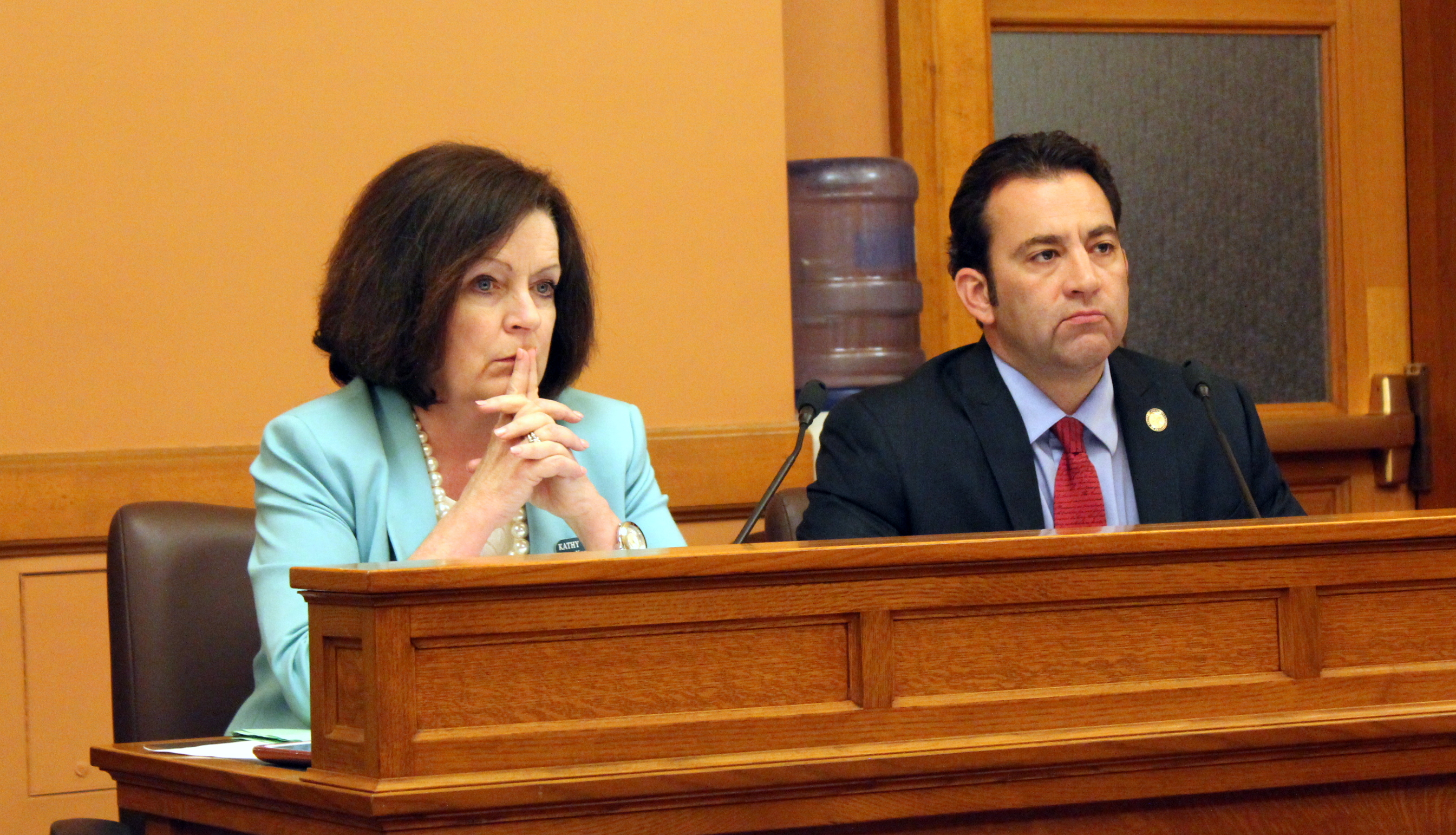 House budget negotiators Republican Troy Waymaster (right) and Democrat Kathy Wolfe Moore. (Photo by Stephen Koranda)