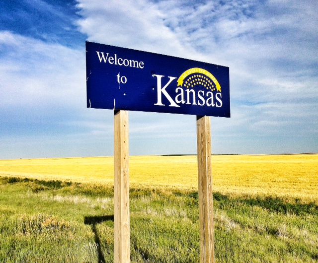Welcome sign in a section of rural Kansas, near the border with Colorado (Photo by J. Schafer)