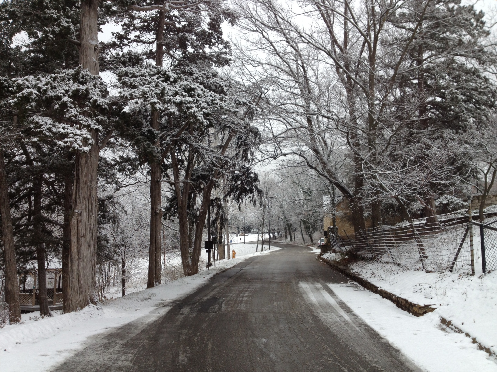 File photo of a winter scene; the road that leads to Kansas Public Radio. (Photo by J. Schafer)