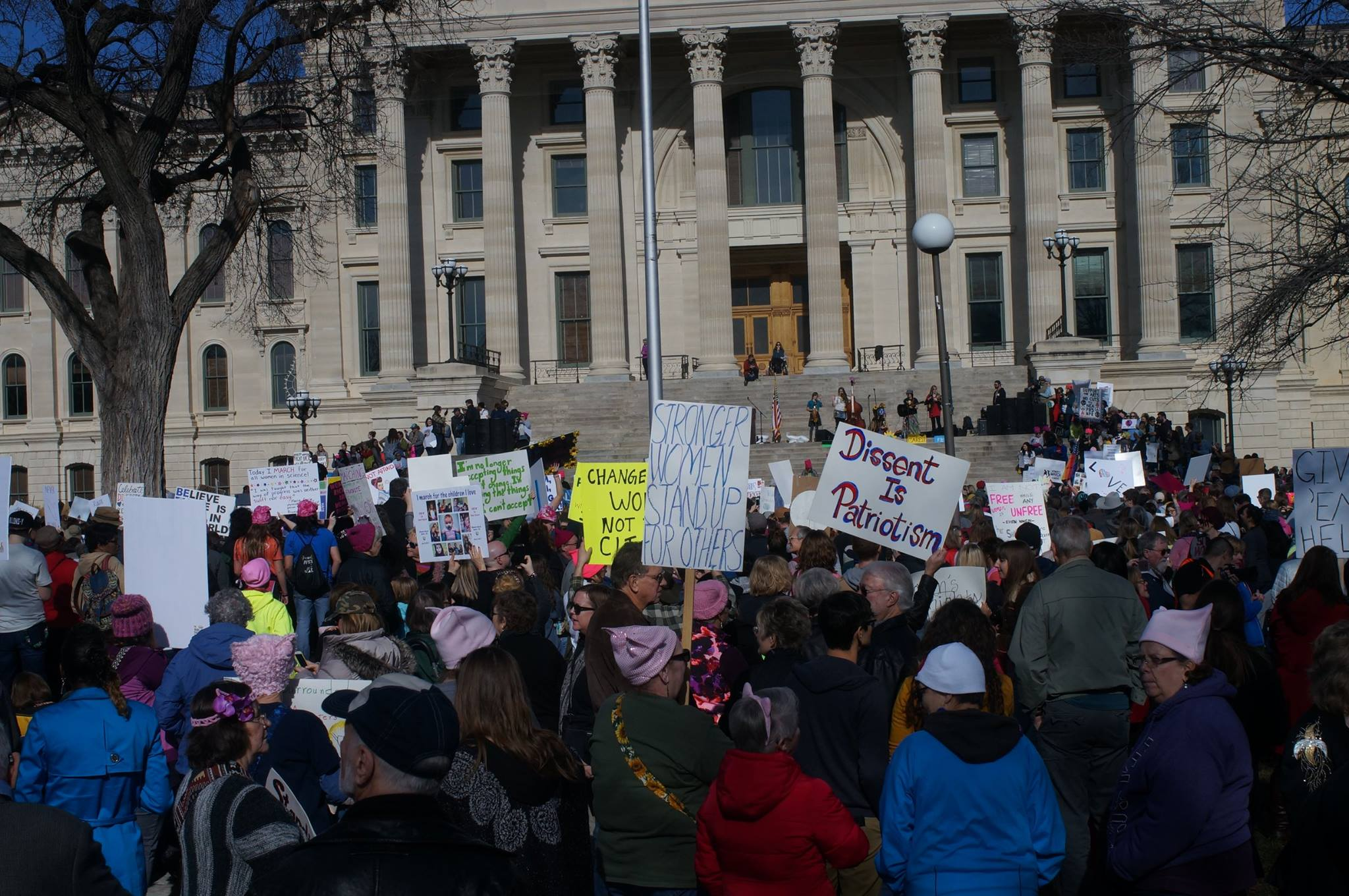 Protesters rallied in Topeka Saturday against President Donald Trump. This was one of many protests held in cities across the country, in conjunction with the Women's March on Washington. (Photo by Dan Mantyla)