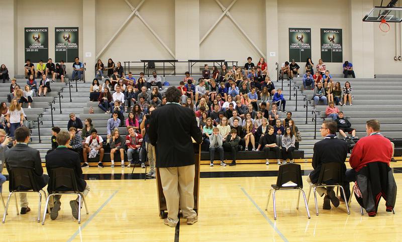 The four teenagers running for Kansas governor faced questions from students at Lawrence Free State High School during a recent forum.  (Photo by Jim McLean / Kansas News Service)