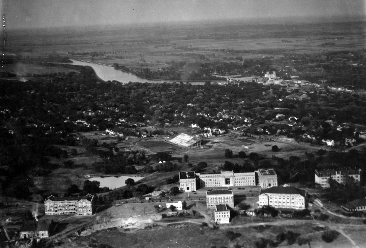 First aerial view of KU, 1921. (Photo Courtesy of Spencer Research Library)