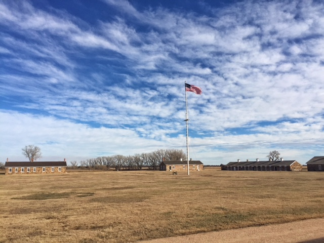 View of the parade grounds in the center of Fort Larned in Pawnee County, Kansas. If you've never been to this National Historic Site in central Kansas, you should go.  It is perhaps the best preserved fort of the Indian Wars era. (Photo by J. Schafer)