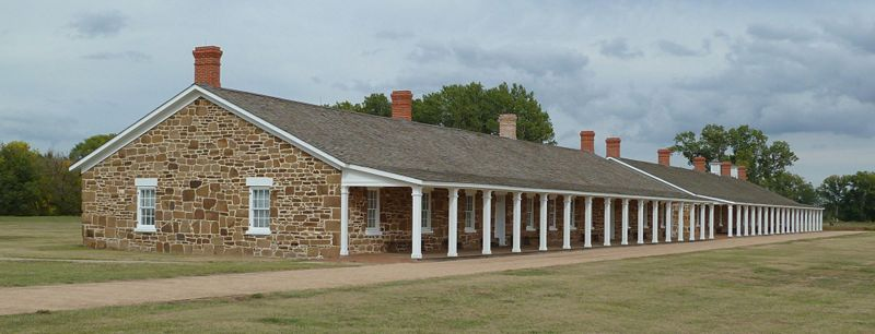 Barracks and hospital at Fort Larned, near Larned in central Kansas - one of the best preserved and restored military forts from the old west. This is just one of many sites in Kansas operated by the National Park Service.