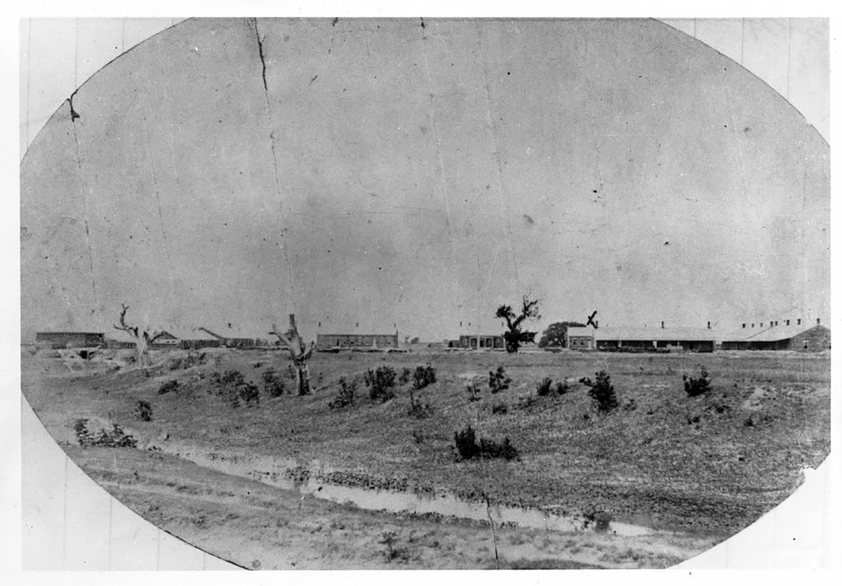 This photograph has an early view of Fort Larned. Date: Nov. 1869 (Photo via Kansas Historical Society / kansasmemory.org)