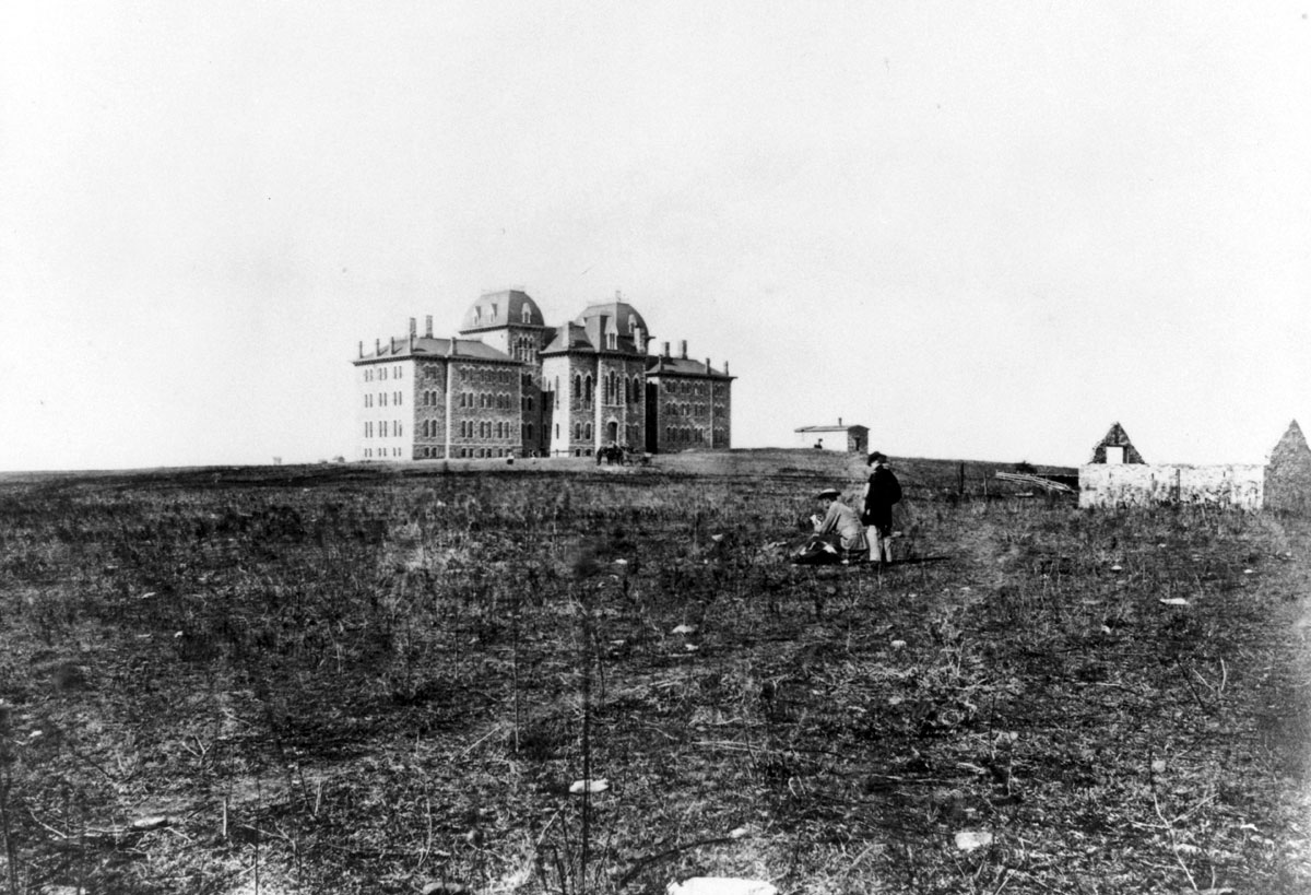 University Hall (Fraser) on the University of Kansas campus, 1870s. (Photo Courtesy of Spencer Research Library)