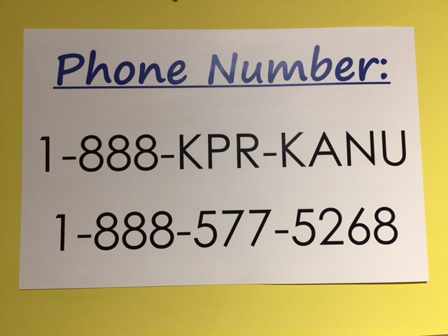 One of many signs hanging in the KPR studios during the spring fund drive, as the station grapples with a $200,000 budget cut from KU. (Photo by J. Schafer)