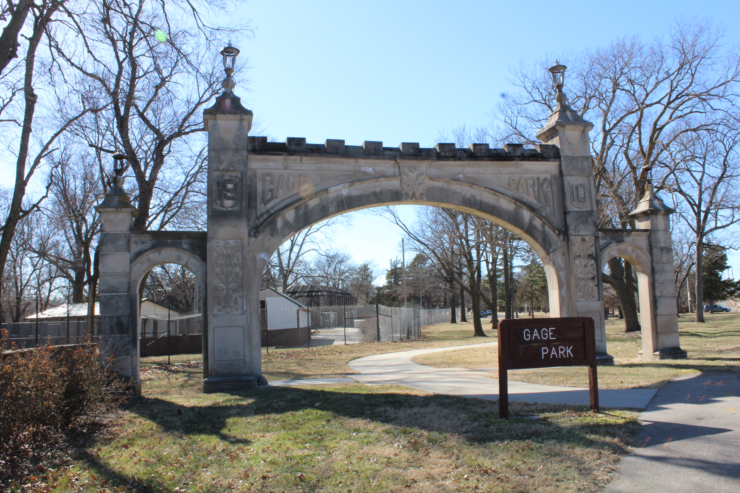 Gateway to Gage Park. This stone arched entrance was constructed in 1910. (Photo by J. Schafer)