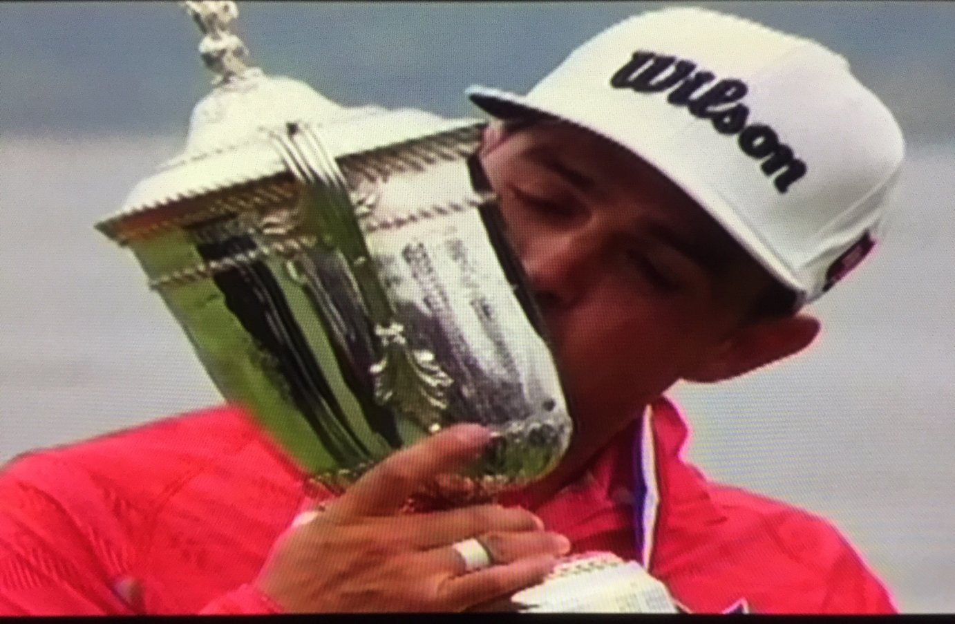 Topeka native Gary Woodland kissing the U.S. Open trophy after winning his first major at Pebble Beach Sunday afternoon. (Photo from FOX Sports)