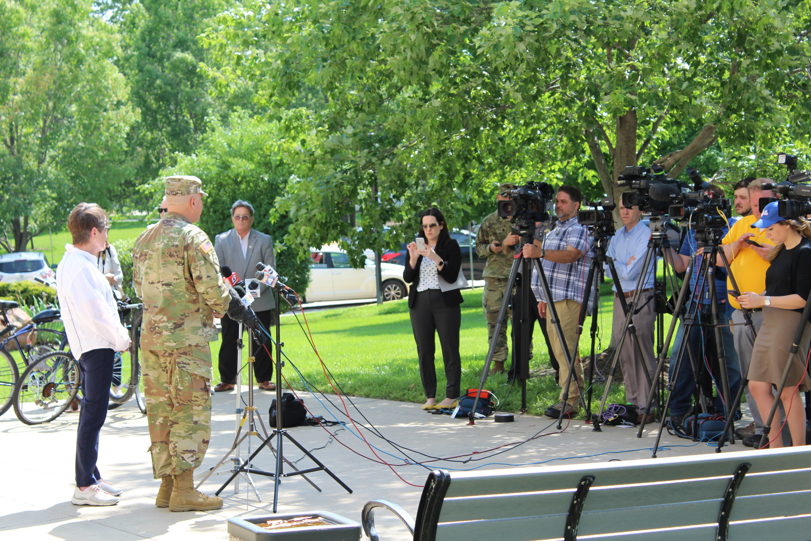 Major General Lee Tafanelli and Kansas Governor Laura Kelly, speaking at a news conference Thursday outside the Douglas County Law Enforcement Center in Lawrence. (Photo by J. Schafer)