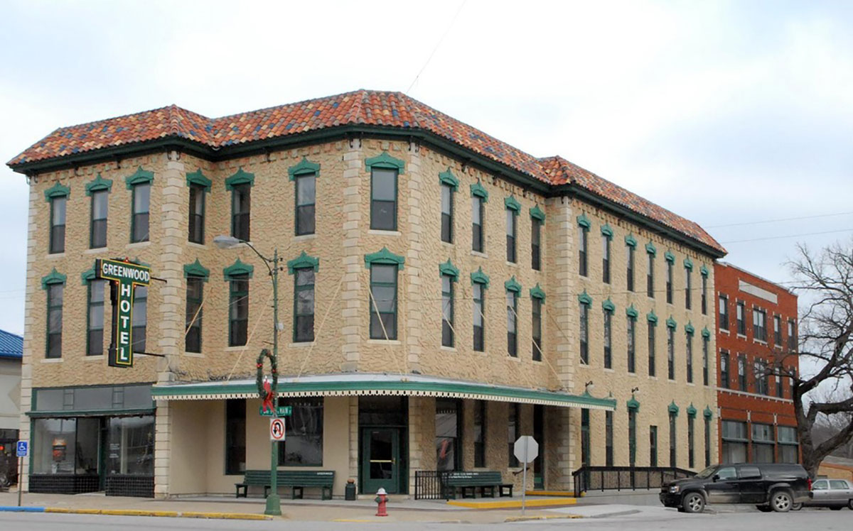 In October 1883, the Greenwood Hotel was completed with 43 boarding rooms and 50 beds. Built by The Eureka Hotel Company, a stock company consisting of prominent early settlers of the Eureka community the total cost of construction was $23,000. After falling into disrepair, renovation on the Greenwood Hotel began on March 8, 2010. It reopened to the public June 13-18, 2011. (Photo Courtesy of Kansas Historical Society/kansasmemory.org)