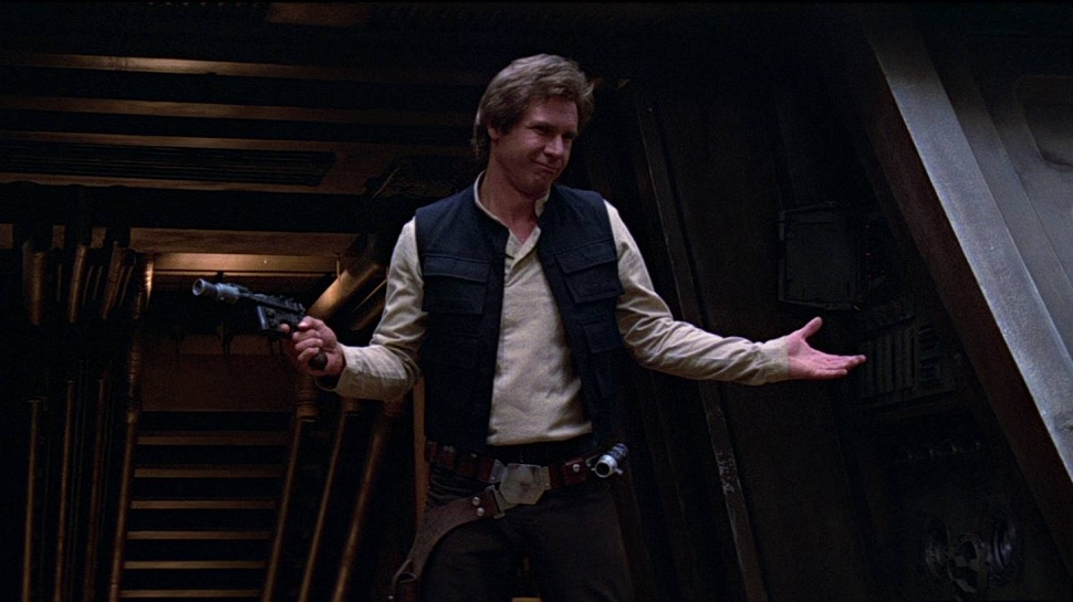 Han Solo, as played by Harrison Ford, from a scene in Star Wars. (Image by Lucasfilm)