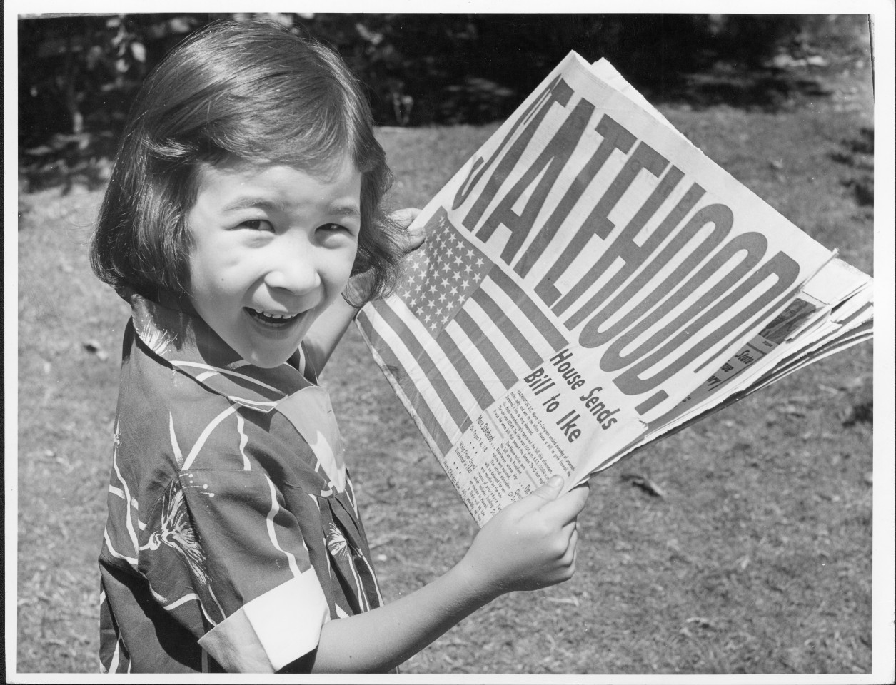 "Even six-year-old Mary ""Dodie"" Brown seemed excited by statehood for Hawaii. (Image Credit: Hawaii State Archives/George Bacon)"