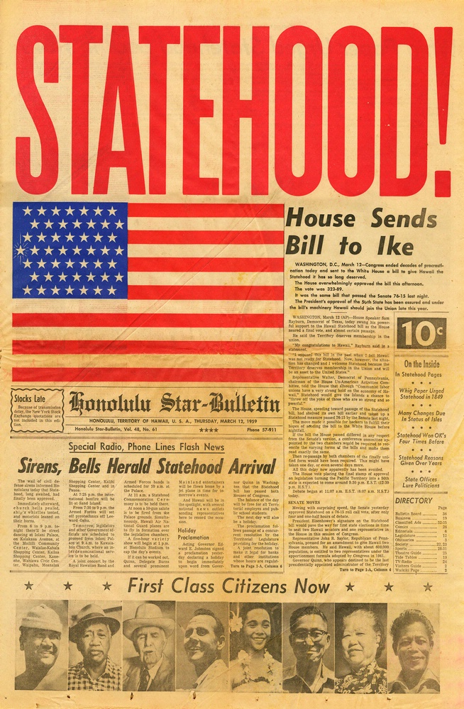 The Honolulu Star-Bulletin published this on March 12, 1959, after Congress passed the Hawaii Statehood Bill. (Image Credit: Evelyn Cochran and the Cochran Family)