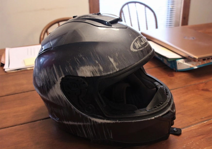 Letner broke his neck when he flew off his bike at highway speed, but protective gear like this helmet helped him survive. (Photo by Celia Llopis-Jepsen, Kansas News Service)