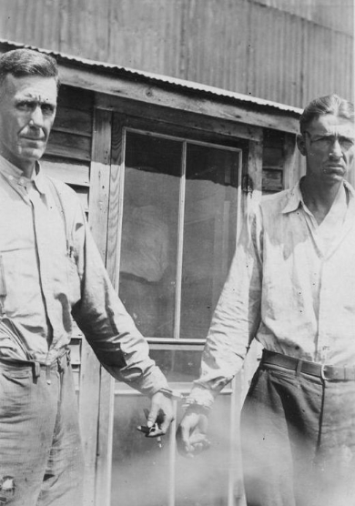 Barrow Gang member Henry Massingill (right) met his match in Meade, Kansas, where a croquet-wielding woman put an end to his crime spree.  Note the mallet mark left behind on Massingill's head. (Photo credit: Malcolm Clay)