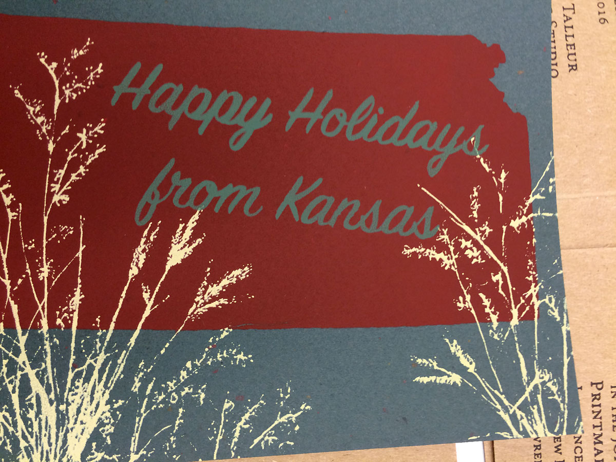 Handmade holiday card, produced at the Lawrence Arts Center. (Photo by Austin Fitts)