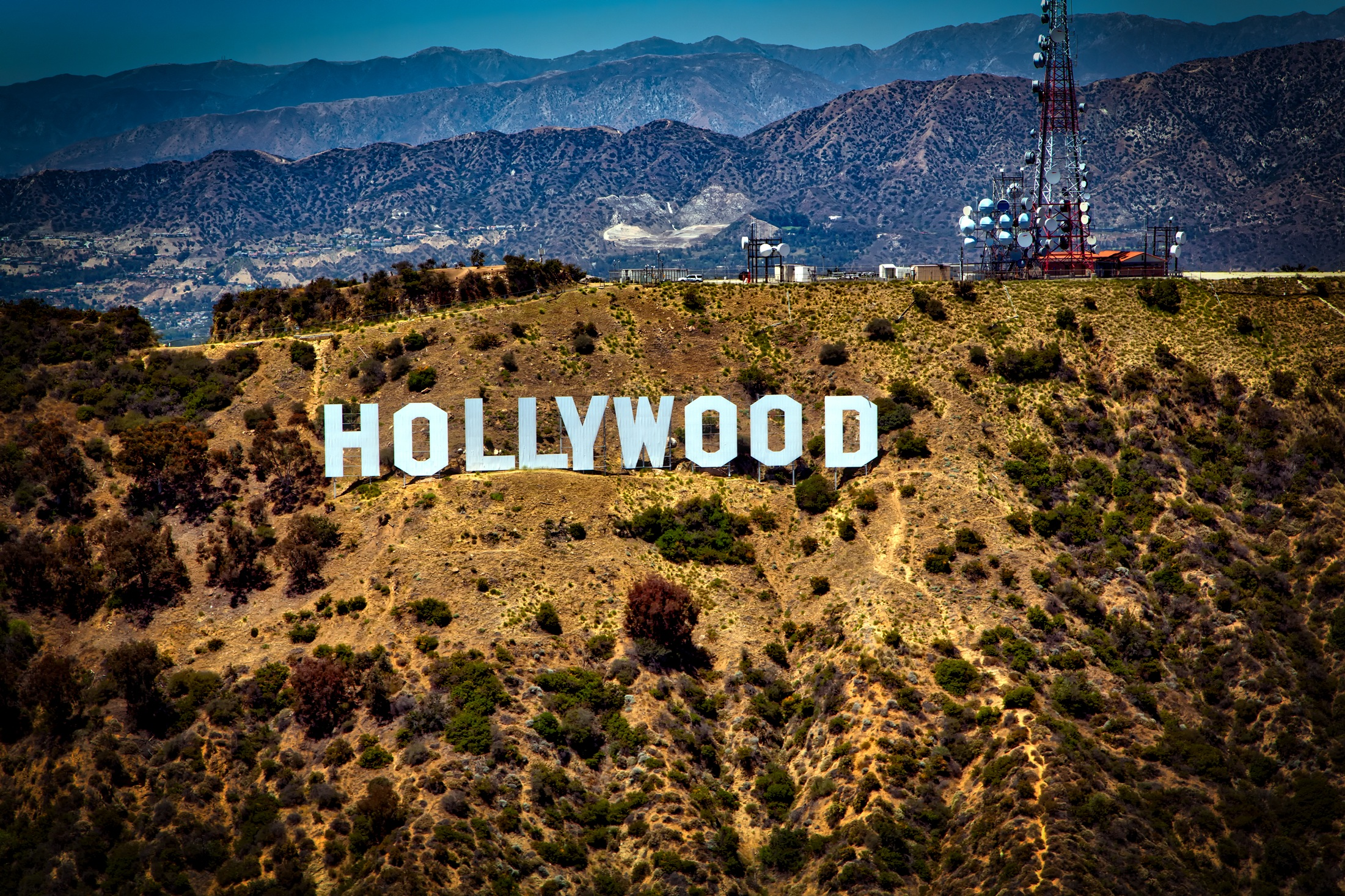 The legendary Hollywood sign in Griffith Park, Los Angeles.