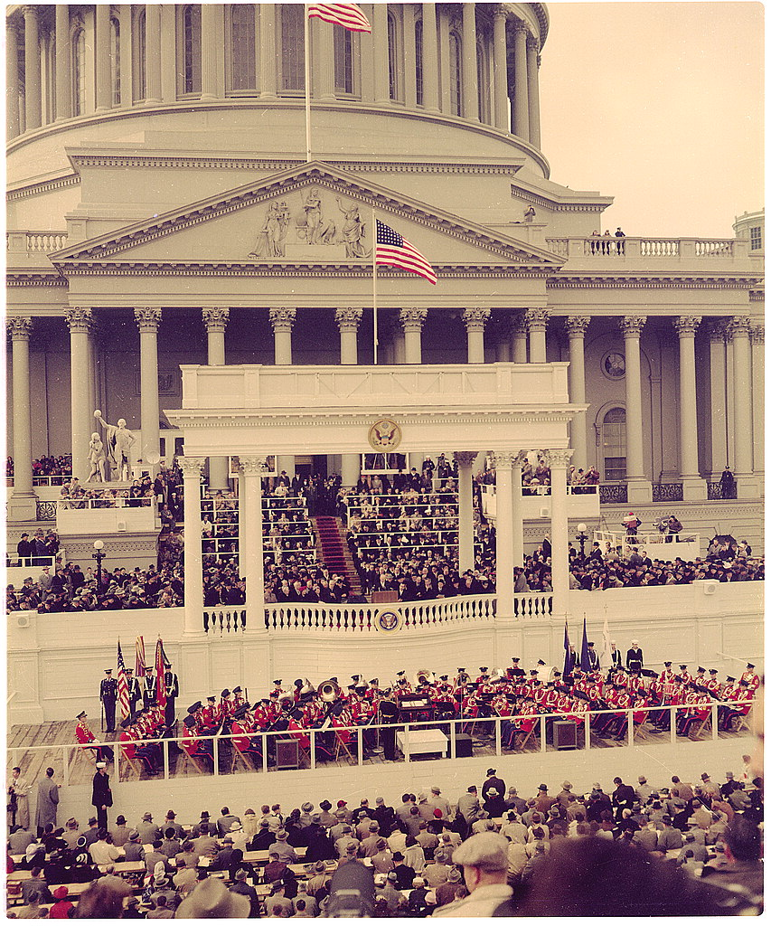 President Dwight D. Eisenhower delivering his inaugural address on the east portico of the U.S. Capitol, January 21, 1957. (Photo via Library of Congress)