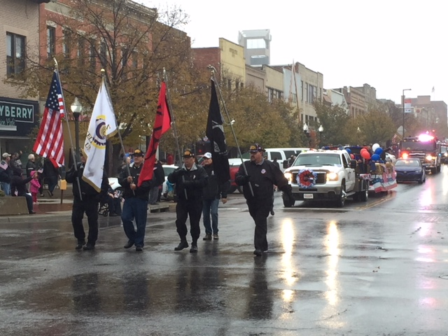 Native American veterans affiliated with Haskell Indian Nations University marched in the parade.