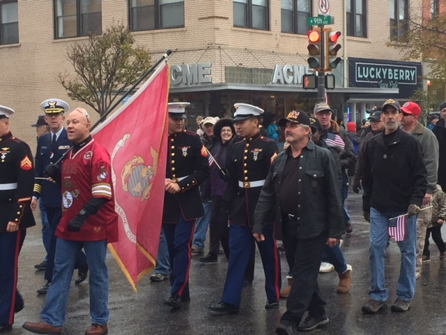 Marines march in the 2017 Veterans Day parade in downtown Lawrence, the first such parade in nearly 50 years.