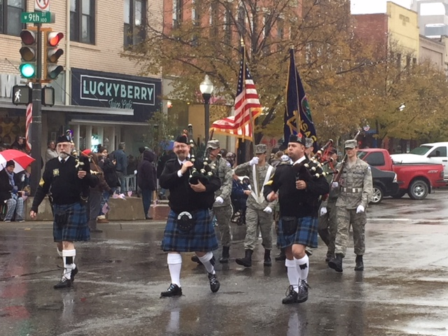 Bagpipe players entertained the crowd and veterans.