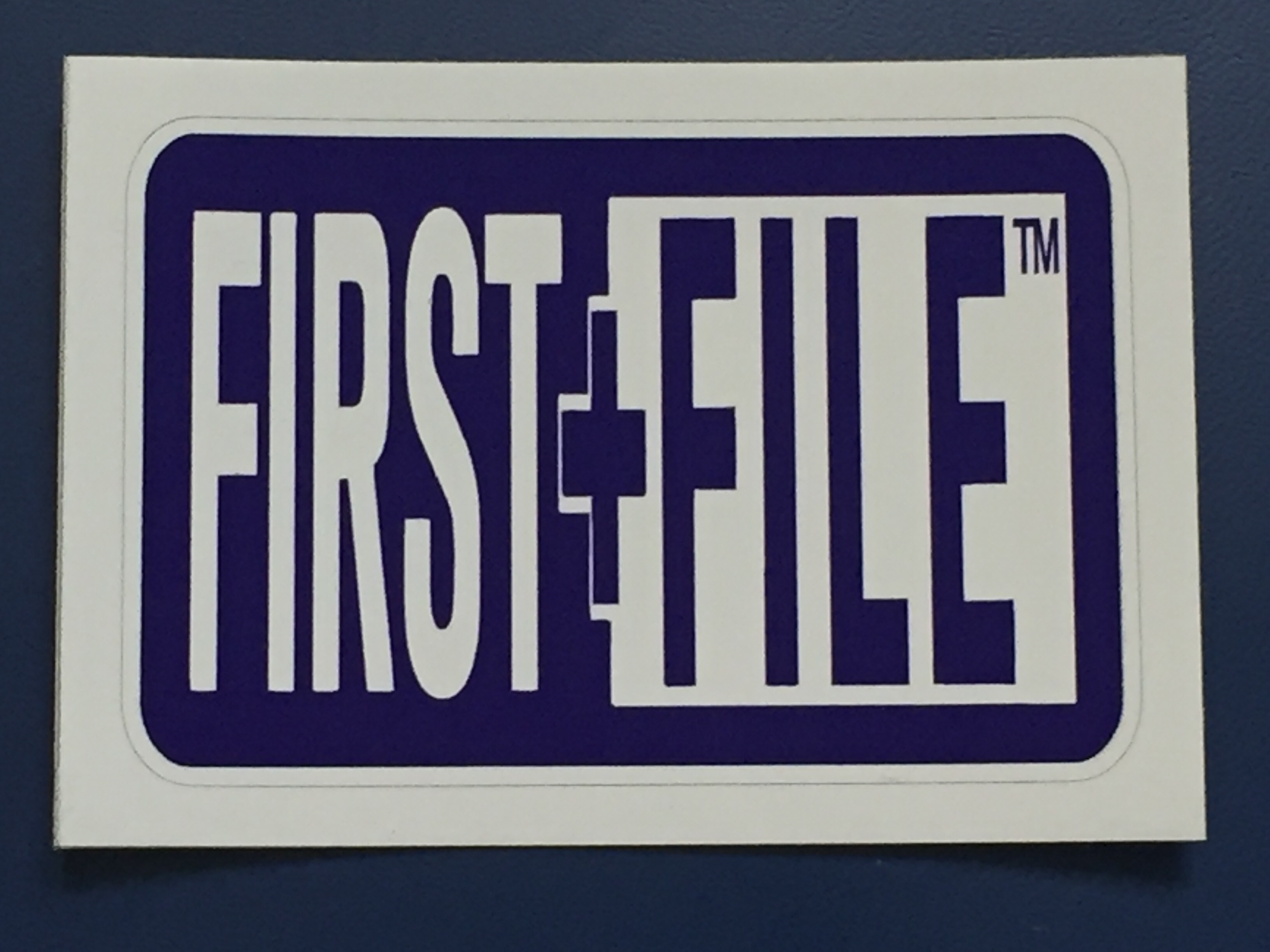 First File sticker (Photo by J. Schafer)