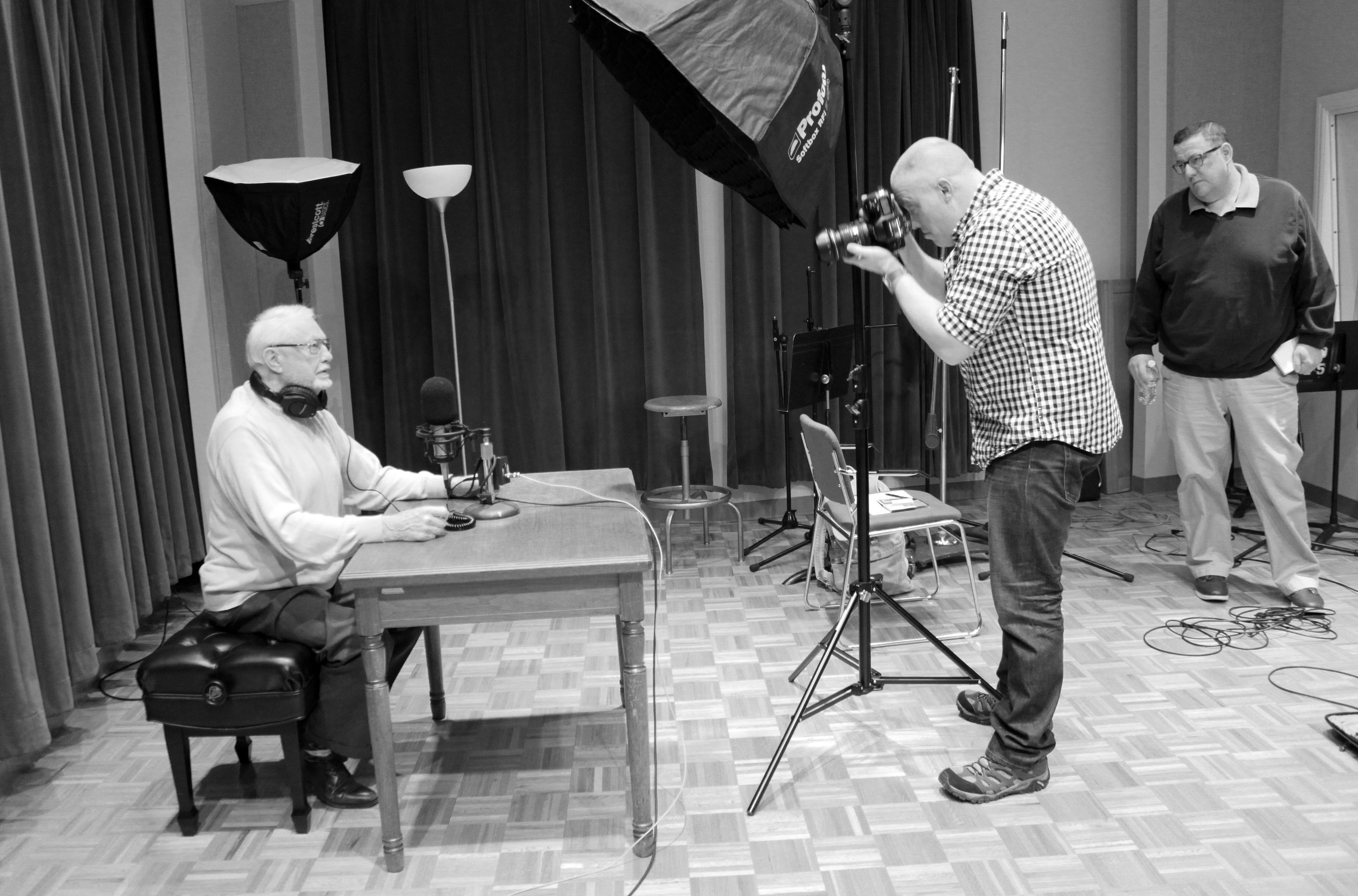 While in the KPR studios for an interview, Dr. Potts was photographed for a KU Alumni Magazine feature scheduled for the March 15, 2015, issue. (Photo by Joanna Fewins)