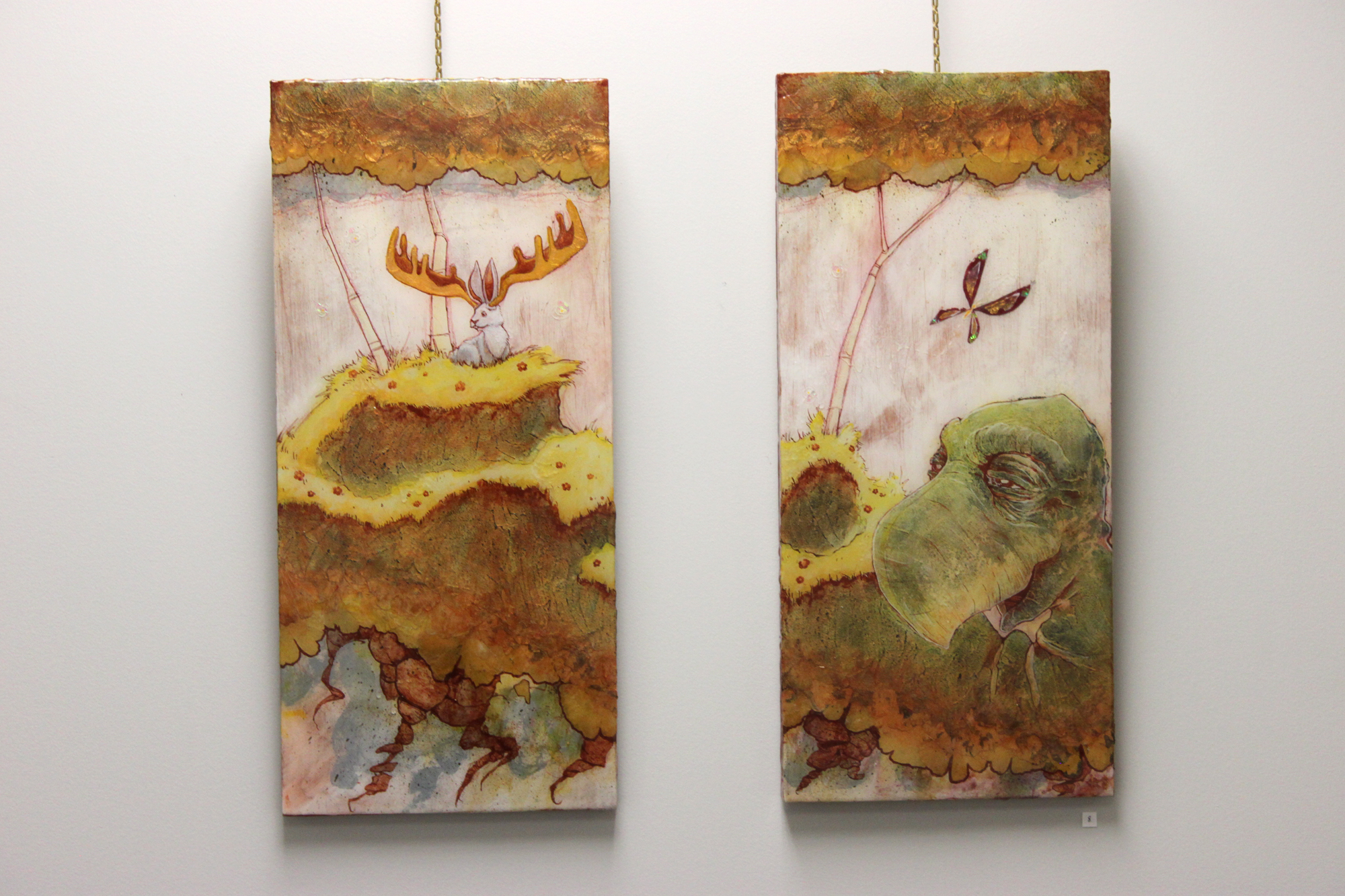 Floating Lands #5 (Diptych), Mixed Media with pressed leaves, 2015 - Kent Smith, $900