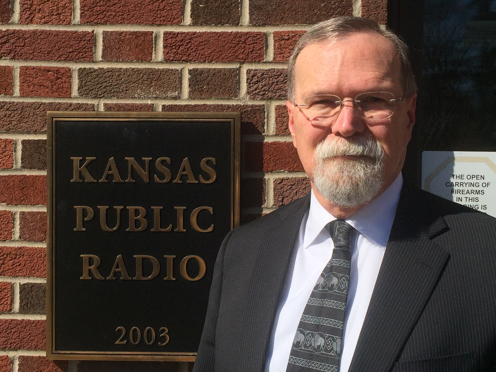 Kansas Supreme Court Chief Justice Lawton Nuss, outside the KPR studios in Lawrence. (Photo by J. Schafer)