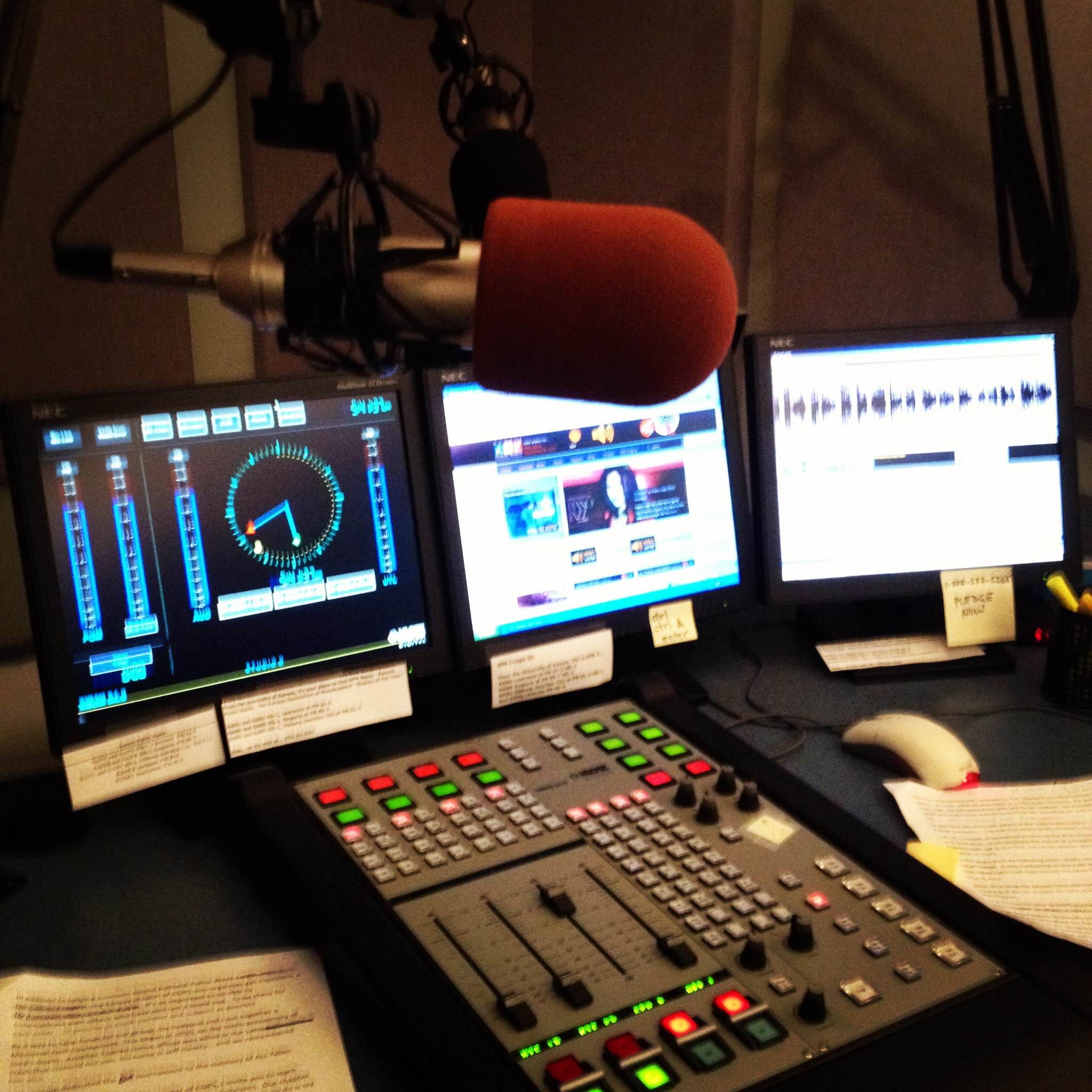 Inside one of the news studios at Kansas Public Radio. (Photo by J. Schafer)