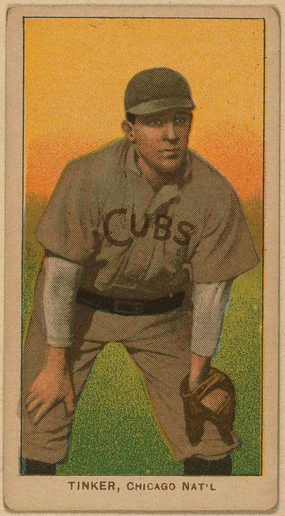 A baseball card of Joe Tinker, shortstop for the Chicago Cubs, c. 1909-1911. (Photo via Library of Congress)