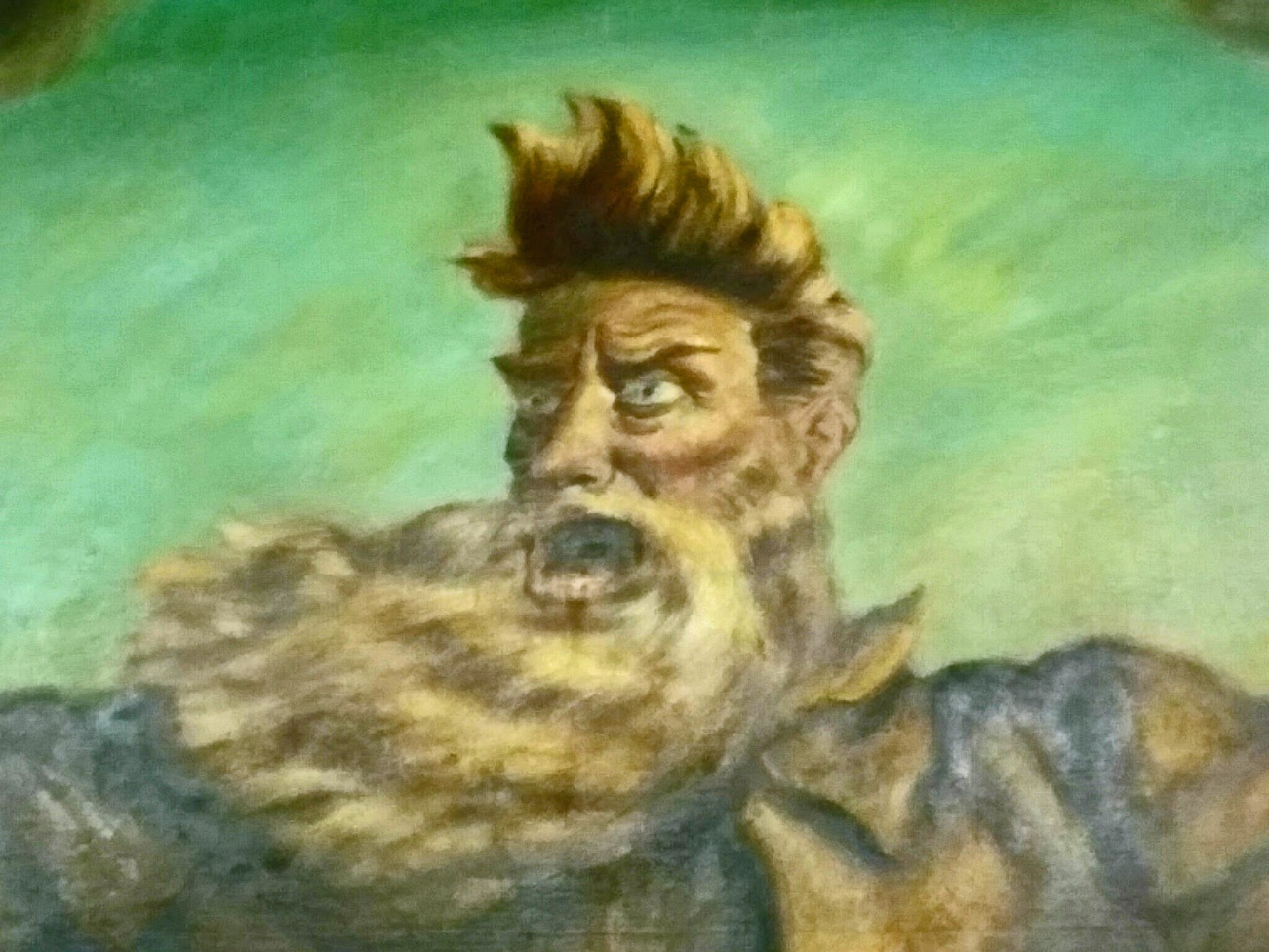 "Close up of John Brown's face fron the ""Tragic Prelude"" mural at the Kansas Statehouse"