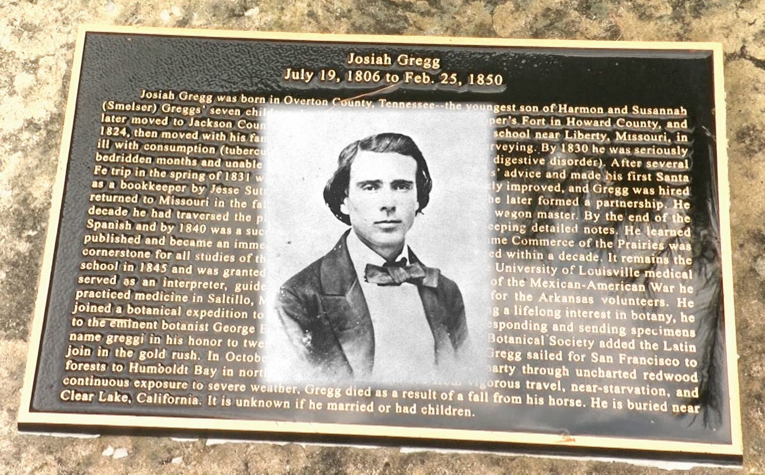 Josiah Gregg was an early merchant who traveled the Santa Fe Trail and published a book about his travels. (Photo by Dave Kendall)