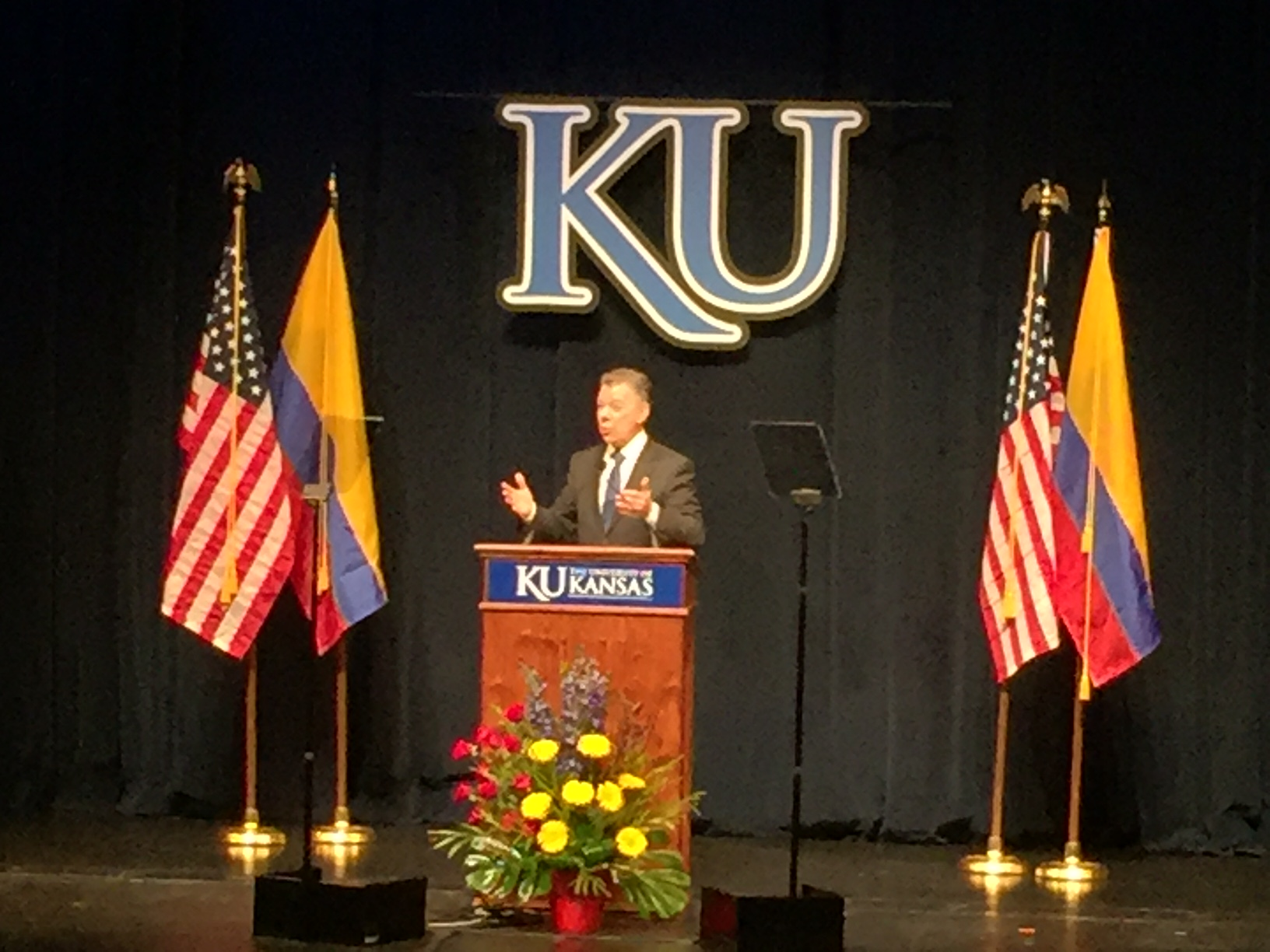 Colombian President Juan Santos speaking at KU's Lied Center Tuesday night, where he received an honorary doctorate for his efforts to bring peace to his war-torn country. (Blurry photo by J. Schafer)
