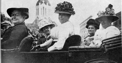 Members of the Kansas Equal Suffrage Association, going after the vote in Topeka, Kansas, circa 1912. (Photo from Kansas Historical Society)